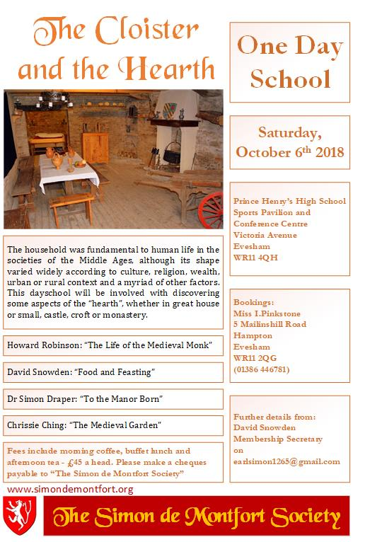 Flier for 2018 One Day Schoole: The Cloister and the Hearth